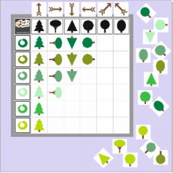 Drzewka - kodowanie na planszy 7x7