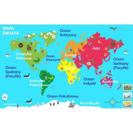 Mapa świata 76x48 cm