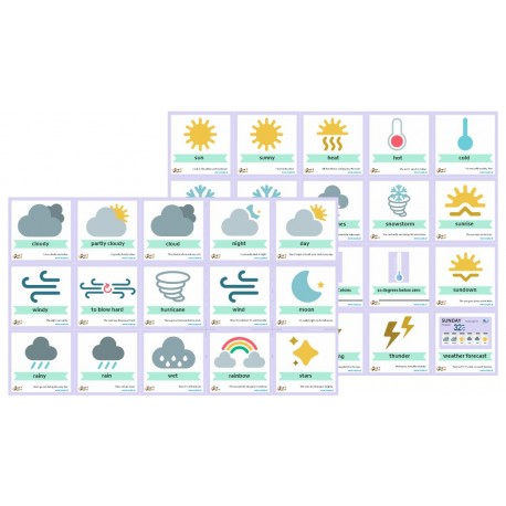 35 szt flashcards 18x18 - Weather